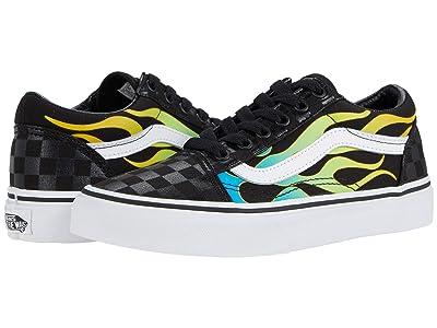 Vans Kids Old Skool (Big Kid) ((Glow Flame) Black/True White) Boys Shoes