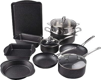 DONOUCLS Aluminum Cookware Set, Carbon Steel Bakeware Set with Nonstick Durable Marble Coating– Includes Stock Pots, Saucepans, Frying Pans, Baking Pans, and Lids, 13 Pieces, Gray