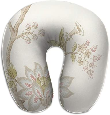 KIENGG Nature Flowers U Shaped Neck Pillow Case Memory Foam,Novelty Travel Rest Pillow Pain,Breathable Soft Comfortable Adjustable