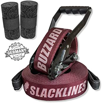 BUZZARD easyline 15m - Slackline-Set mit Baumschutz 120 cm - Made in Germany
