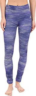 adidas Women's Performer Mid Rise Long Tights - Macro Heather Print Purple Heather/Matte Silver Pants