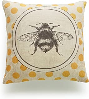 Hofdeco Decorative Throw Pillow Cover HEAVY WEIGHT Cotton Linen French Country Vintage Bee on Yellow Dots 18x18 45cm x 45cm