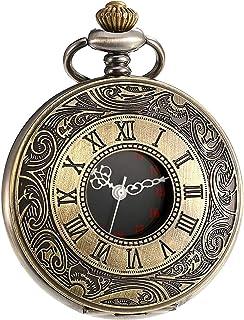 ساعة جيب كلاسيكية من ال واي ام اف اتش سي اتش بارقام رومانية وحركة كوارتز وسلسلة للرجال للكريسماس وعيد الميلاد وعيد الاب