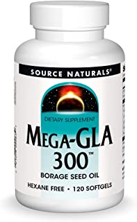 Source Naturals Mega-GLA 300 - Borage Seed Oil That is Hexane-Free - 120 Softgels