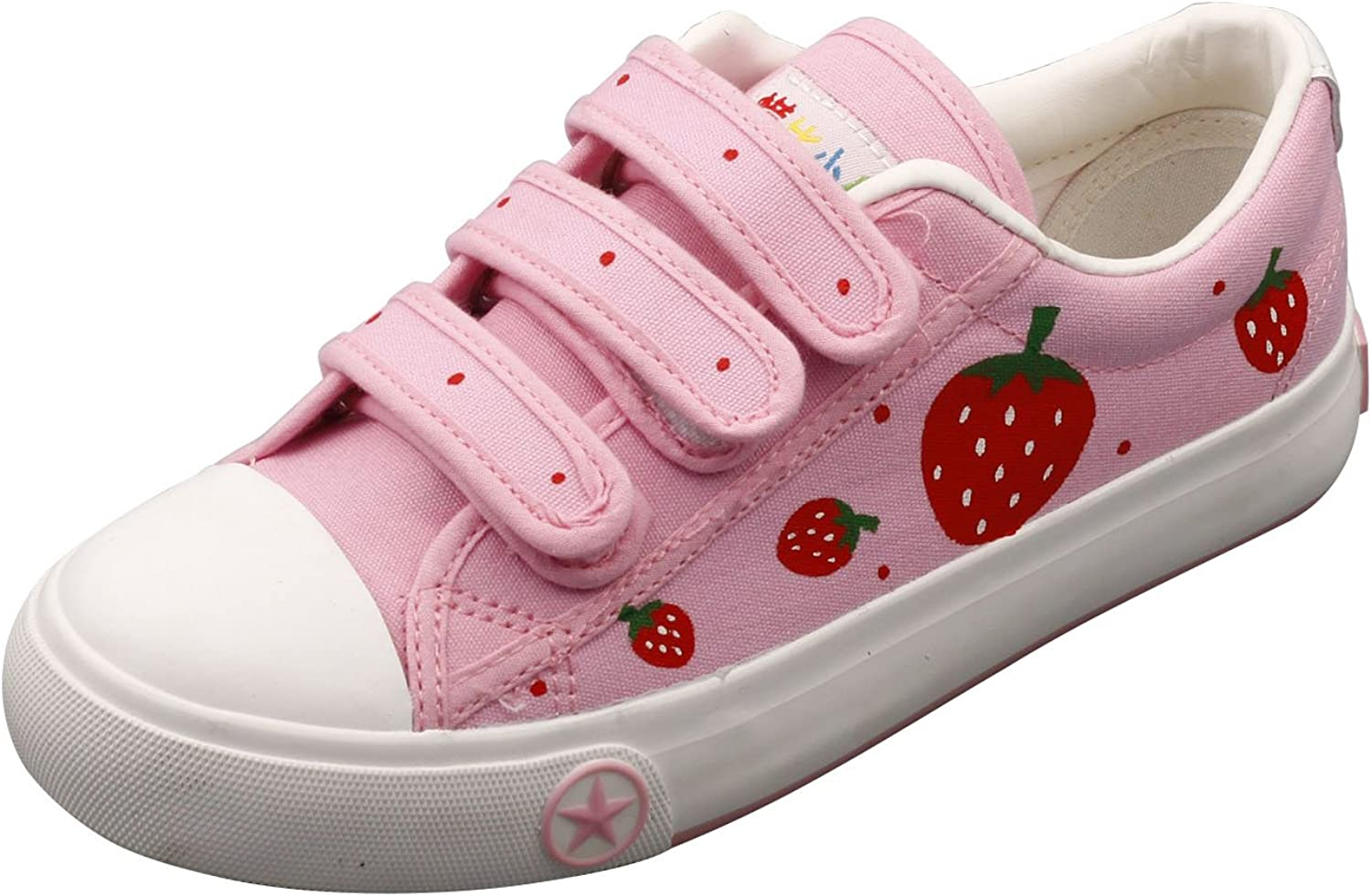 E-LOV Pink Strawberry Hand-Painted Canvas shoes Low Cut Sneakers Hook and Loop Strap Personalized Casual shoes for Women and Men