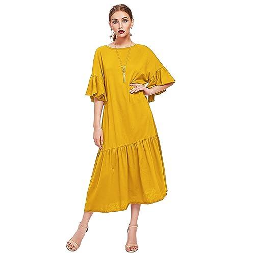 06fefb3b12bd WDIRA Women s Drop Waist Half Sleeve Round Neck Casual Dress