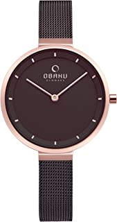 Obaku Women's Blomme Analog Quartz Dress Watch with Stainless Steel Strap, Brown, 10 (Model: V225LXVNMN)