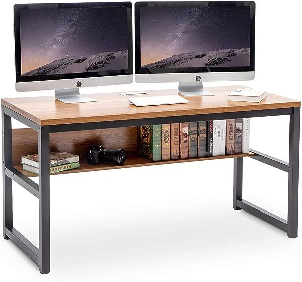 TOPSKY 55 Computer Desk With Bookshelf Metal Desk Grommet Hole Wire Cover Oak Brown Black Frame