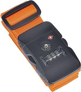 Correa de Equipaje, Nylon Resistente y Candado de Combinación TSA, para Viajes Seguros (Naranja)