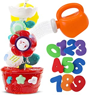 STEAM Life Bath Toys for Babies and Toddlers   Waterfall Bathtub Toy Bundle Comes with Toy Watering Can and Foam Numbers 1 - 9   Waterfall Flower Baby Bath Toy for Girls and Boys Ages 0 - 4  