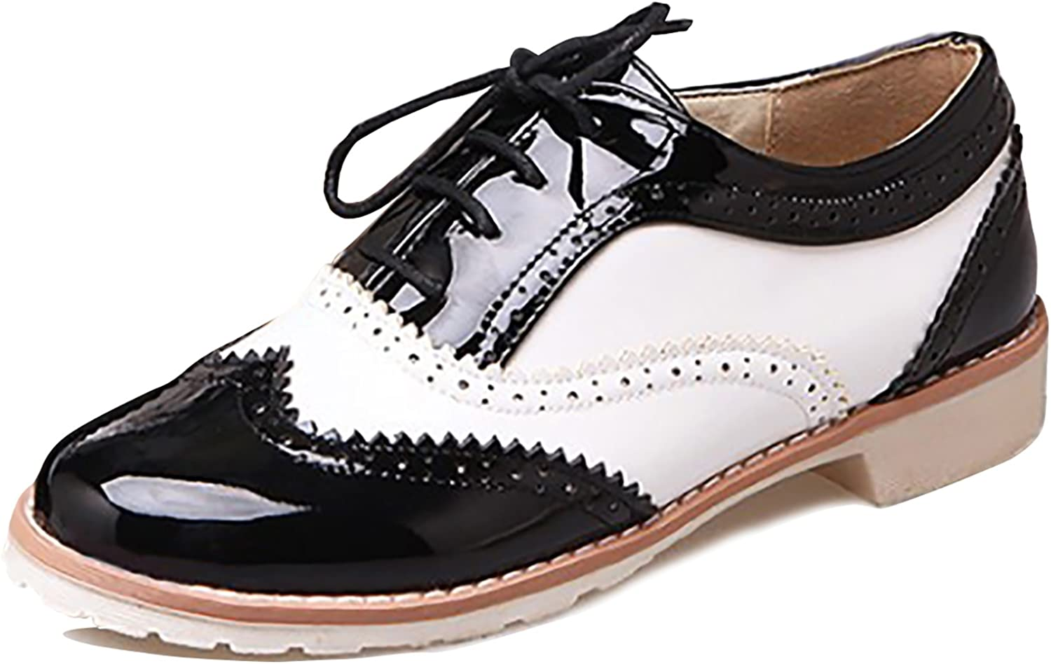 Odema Womens Womens PU Leather Oxfords Brogue Wingtip Lace up Chunky Low Heel shoes Dress Pumps Oxfords