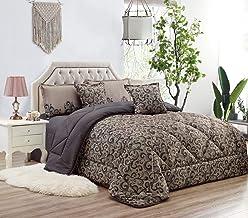 طقم لحاف مفرش سرير مزركش من موون- 6 قطع، مقاس كينغ
