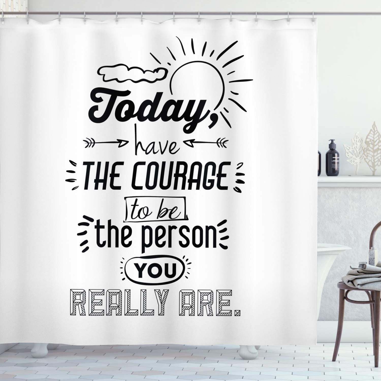 Amazon Com Ambesonne Inspirational Shower Curtain Positive Words Theme Encouragement Words Motivational Design Print Cloth Fabric Bathroom Decor Set With Hooks 84 Long Extra Black White Home Kitchen