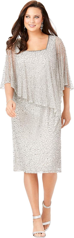 Roamans Women's Plus Size Embellished Capelet Dress Beaded Formal Evening