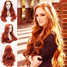 BESTUNG Women's Long Body Wavy Free Part Copper Red Glueless Half Hand Tied Synthetic Lace Front Wig For Halloween Heat Resistant Wig for Women (24 inches, Copper Red #360)