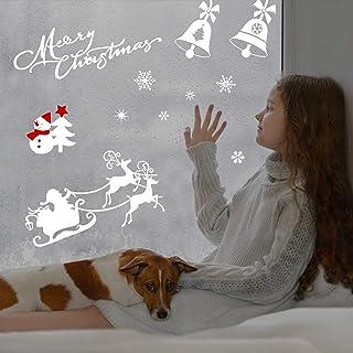 LANMOK Pegatina Copo de Nieve Alce, 20pcs Calcomanías de Ventana de Navidad Santa Claus para Decoración de Ventanas/Escaparates/Puertas de Vidrio Año Nuevo Fiesta de Invierno