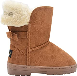 bebe Girls Big Kid Mid Calf Easy Pull-On Suede Winter Boots Embellished with Fur Cuff and Back Bow