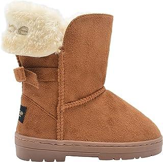 أحذية شتوية من الجلد السويدي سهلة الارتداء للأطفال الكبار في منتصف الساق مزينة بكفافات من الفراء وفيونكة خلفية