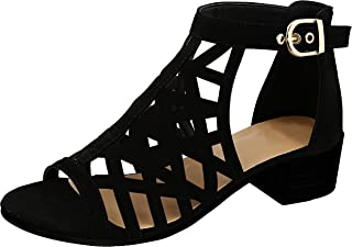TravelNut Summer Juliette Caged Gladiator Block Heel Dress Sandals for Women (Assorted Colors/Low and High Heels)