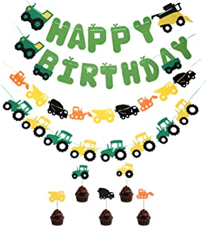 Green Tractor Farm Theme Birthday Party Decorations-Happy Birthday Banner,Green Tractor Banner Cake Topper,Construction Party Supplies and Favors for kids Boys Girls