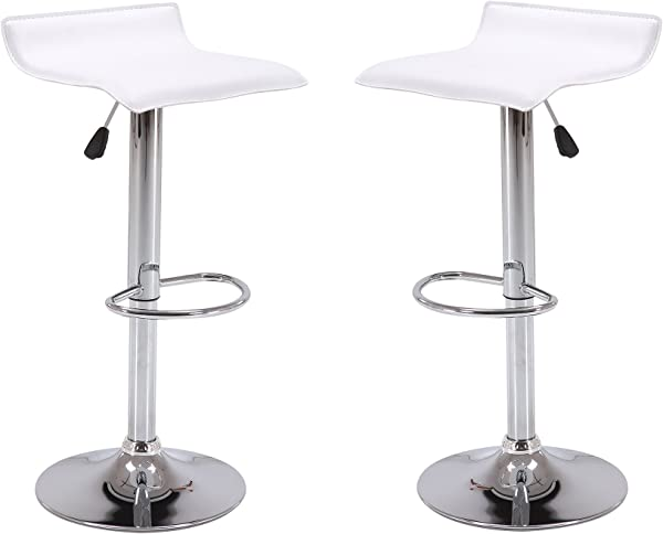 Vogue Furniture Direct Adjustable Height Swivel Barstools With Footrest White Set Of 2 VF1581045 2