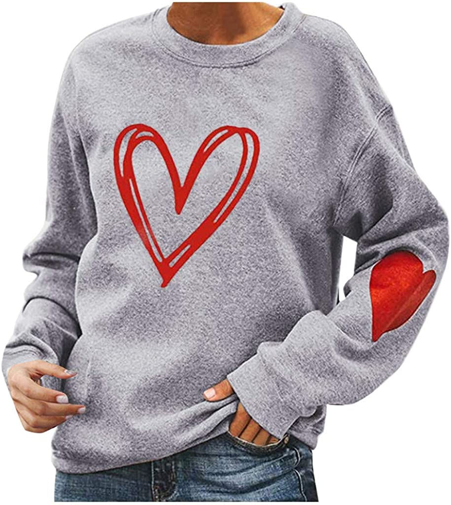 Max 77% OFF Eoailr Sweatshirt for Women O Long Nechk Seattle Mall Heart Print