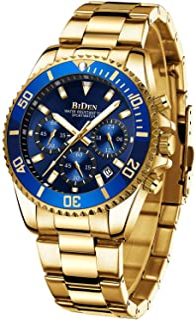 Relojes para hombre cronógrafo oro azul acero inoxidable impermeable fecha analógico cuarzo reloj negocios casual moda relojes para hombres
