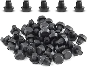 Luomorgo 50 Pcs Glass Top Table Bumpers with Stem, Black Plastic Spacers for Glass Table Top Patio Furniture for 1/4 Inch Hole