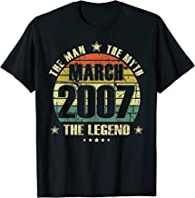 Vintage Born In March 2007 Man Myth Legend 13 Years Old T-Shirt