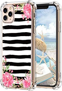 Hepix Watercolor Peony Flowers iPhone 11 Pro Max Case Floral Pro Max iPhone Cases with Black Brush Strokes, Slim Soft Flexible TPU Frame with 4 Protective Bumpers, Anti-Scratch Shock Absorbing, Gifts