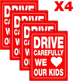 "Accelerated Intelligence Inc. Drive Carefully We Love Our Kids Yard Sign | Double-Sided Red on White Safety Slow Down Signs for Sidewalks, Yards and Driveways 18"" x 24"" (4 Pack)"