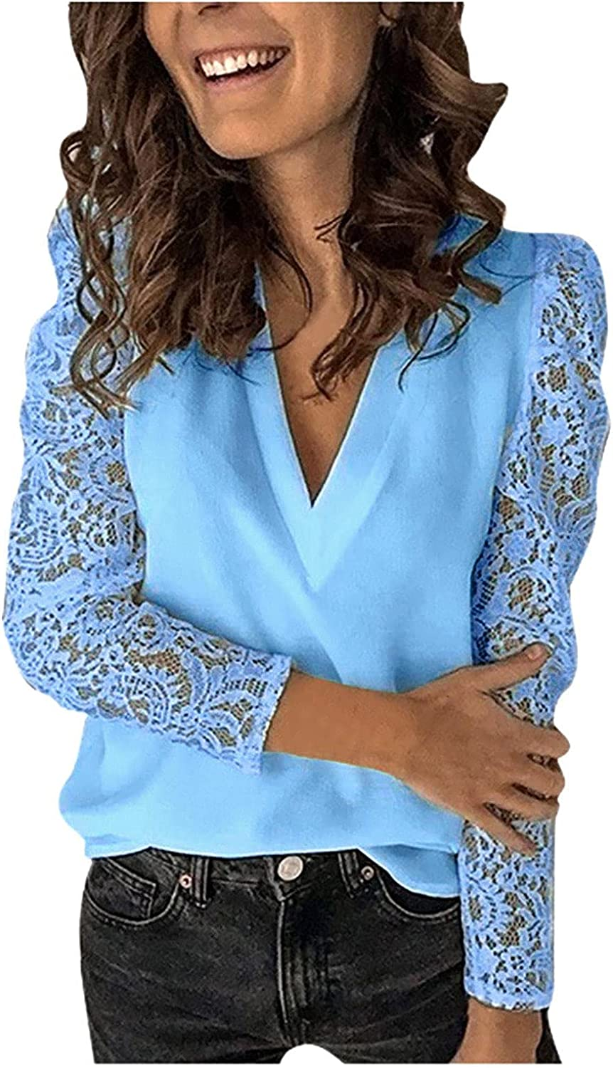 Plus Size Tops for Women Sexy Stitching Lace Casual Blouse Solid V-Neck Long Sleeve Tunic Bottoming Slim Shirt