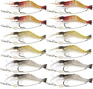 Goture Soft Lures Shrimp Bait Set, Freshwater/Saltwater, Trout Bass Salmon