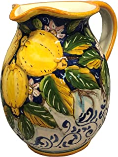 CERAMICHE D'ARTE PARRINI - Italian Ceramic Art Pottery Jar Pitcher Vino Vine 0.4 Gal Hand Painted Decorated Three Lemons Made in ITALY Tuscan