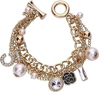 Gold Tone Chain Inspired Charm Bracelet for Women