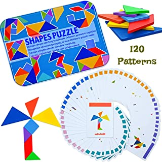 Kids Wooden Travel Tangram Puzzle, Montessori Brain Teaser for Kids and Adults, Shape Puzzles 120 Patterns Portable Size in Colourful Box