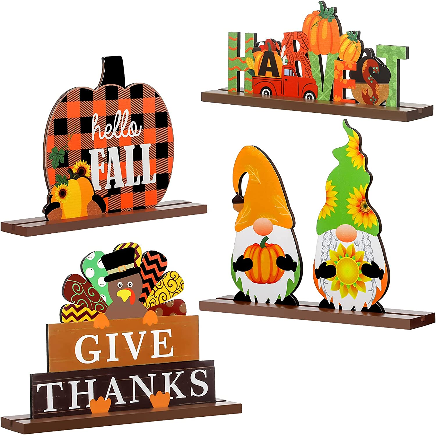Kathfly 4 Pieces Thanksgiving Wooden Fall Signs Thanksgiving Table Decorations Harvest Party Fall Table Centerpieces Hello Fall Wood Ornaments Rustic Wood Turkey Gnomes for Autumn Thanksgiving Party