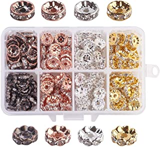 PH PandaHall About 200pcs 10mm 4 Colors 2 Styles Brass Rondelle Spacer Beads Round Rondelle Crystal Rhinestone Charms Beads Jewelry Making (Gold, Silver, Rose Gold, Red Copper)