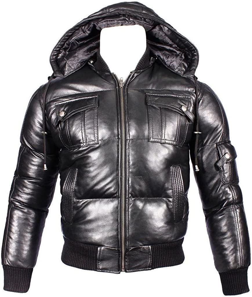 Men's Detachable Hood Black Leather Puffa Bomber Jacket