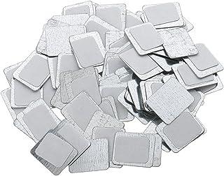 Metalen paletten Stickers, 100 stuks, sterk zelfklevend, voor magnetische make-up pan - zilver, vierkant