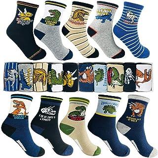 Calcetines de dinosaurios de dibujos animados de moda para niños 4-16 años de edad, el mejor regalo de algodón para niños Sport Crew Sock Set de 10 paquetes