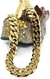 Collar de cadena de eslabones cubanos de oro de 18 quilates para hombres y mujeres, 11 mm, 18 quilates, corte de diamante, resistente, con cierre grueso de cadera