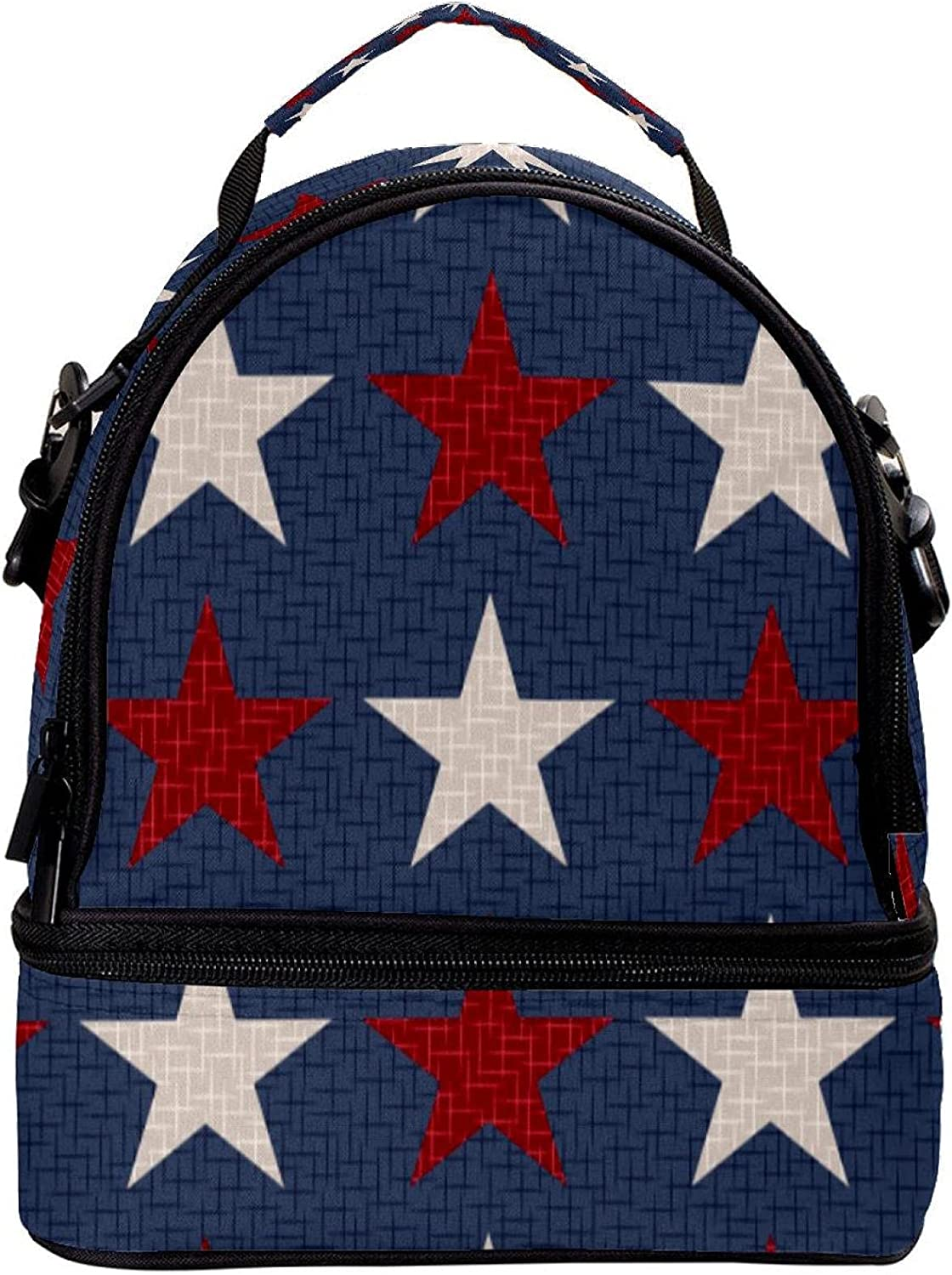 GIOVANIOR Patriotic Red White Stars Max 69% OFF Bo Bag Lunch Insulated Limited Special Price
