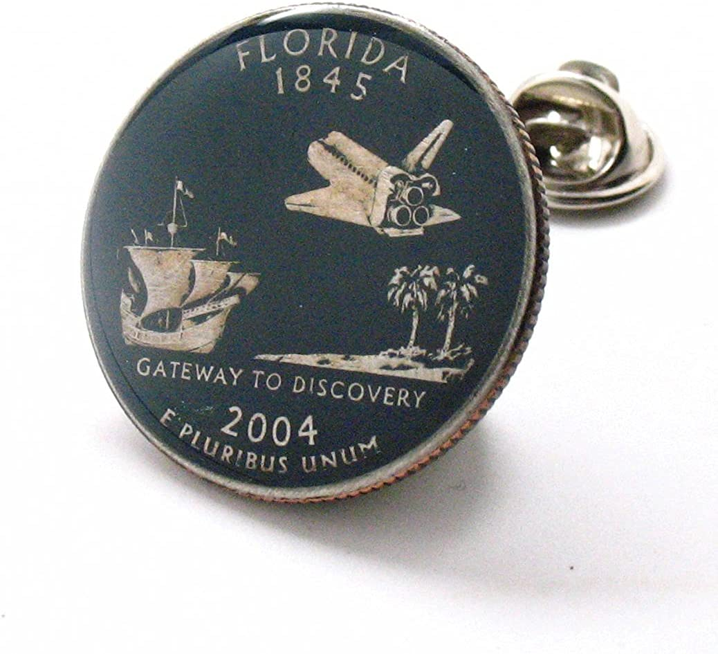 Florida Quarter Tie Tack Lapel Pin Flag Suit State Coin Selling rankings Jewelry 2021 autumn and winter new