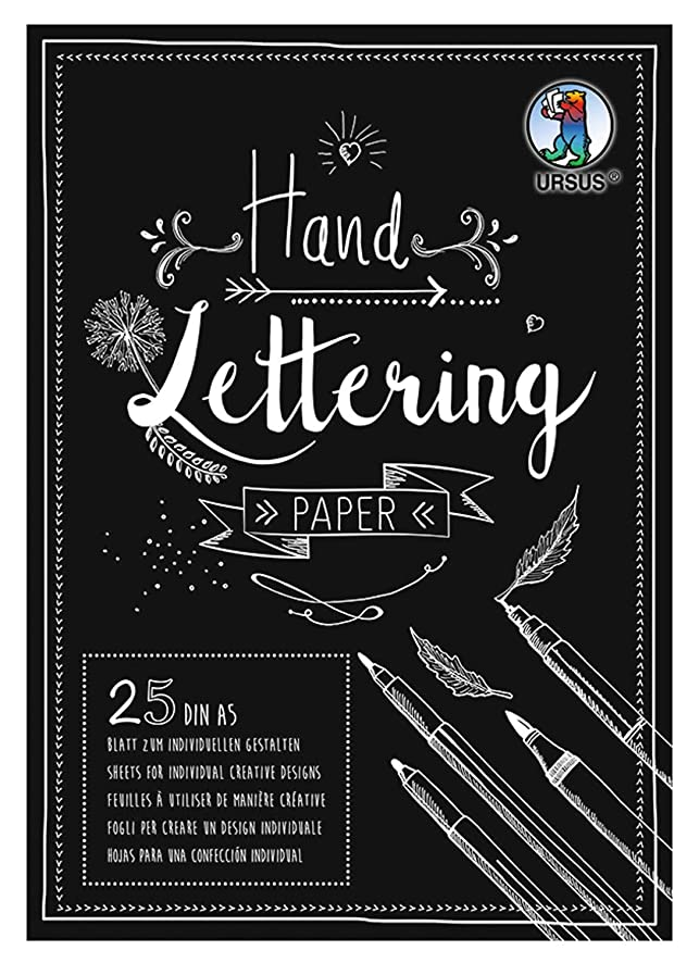 Ursus 24929290 Handlettering Paper Pad with 25 Sheets Coloured Card 210 g/m2 DIN A5 for Customising Black