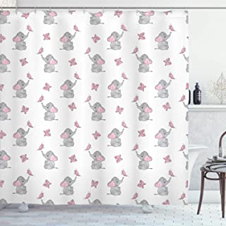 Ambesonne Elephant Nursery Shower Curtain, Baby Elephants Playing with Butterflies Design Pattern, Cloth Fabric Bathroom Decor Set with Hooks, 70