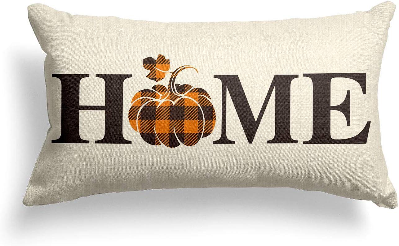 AVOIN Home Buffalo Plaid Pumpkin Fall x 12 Throw 2 Cover Max 72% OFF Ranking TOP15 Pillow