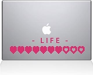 "The Decal Guru Life Heart Meter Macbook Decal Vinyl Sticker  - 15"" Macbook Pro (2016 & newer) - Pink (1227-MAC-15X-BG)"