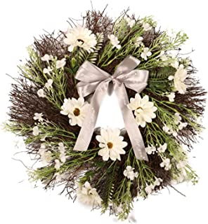 Artificial Rattan Ribbon Bow Flower Wreath Vintage Front Door Garland Decor for Fall Autumn Season Christmas Decorations Indoor Outdoor Wall Hanger Decoration Office Window Hanging Wreaths Decorating