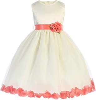 028781ace25 Crayon Kids Little Girls Ivory Coral Floating Petals Flower Girl Dress 2T-6